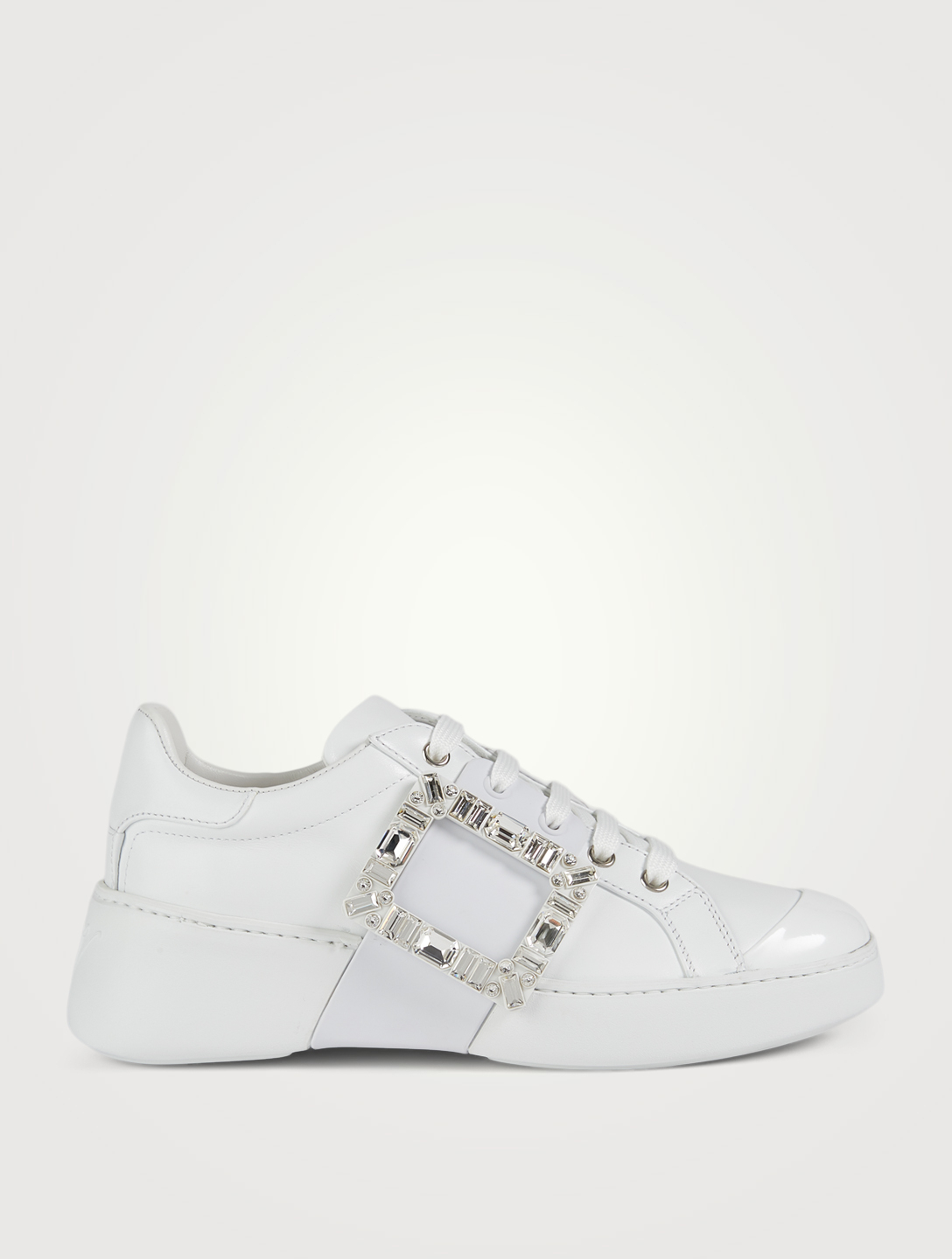 ROGER VIVIER Viv' Skate Strass Buckle Leather Sneakers Women's White