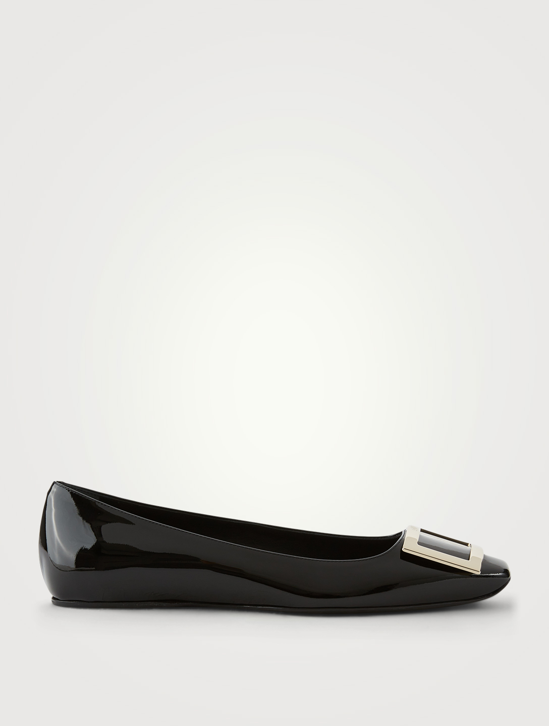 ROGER VIVIER Trompette Patent Leather Ballet Flats Women's Black