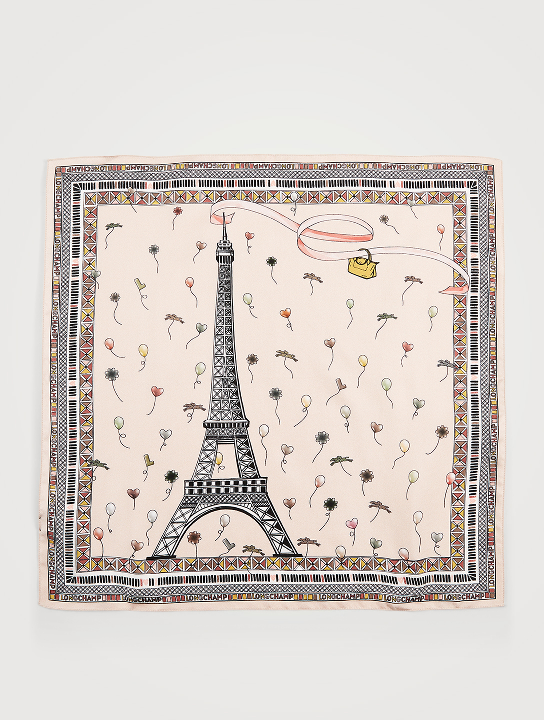 LONGCHAMP Silk Scarf In Eiffel Tower Print Women's Pink