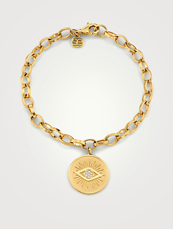 SYDNEY EVAN 14K Gold Bracelet With Diamond Marquis Eye Coin Women's Metallic
