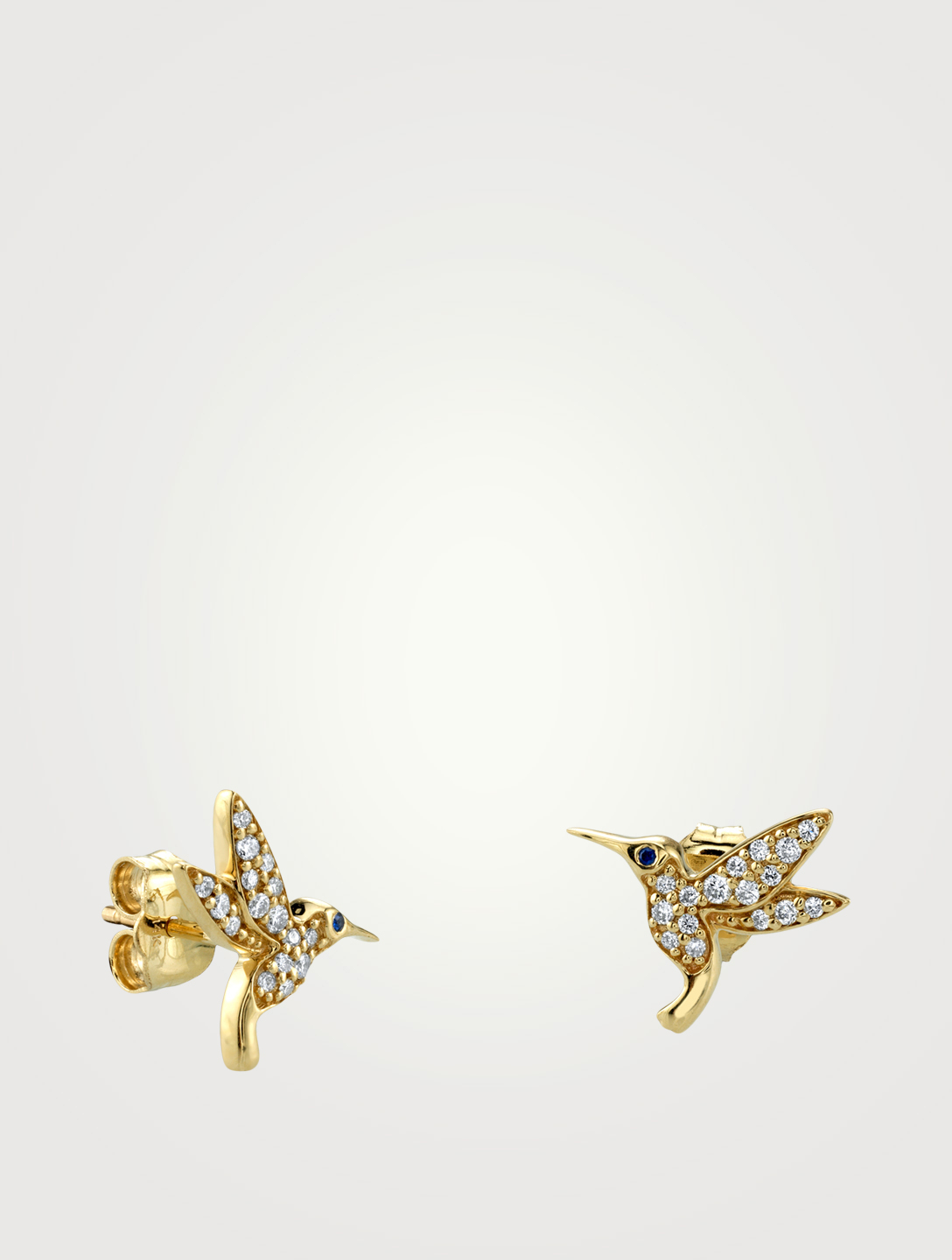SYDNEY EVAN 14K Gold Hummingbird Earrings With Diamonds Women's Metallic