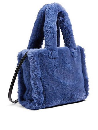 STAND STUDIO Small Liz Faux Fur Tote Bag Women's Blue