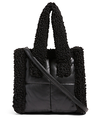 STAND STUDIO Small Liz Quilted Faux Leather Tote Bag With Faux Shearling Women's Black