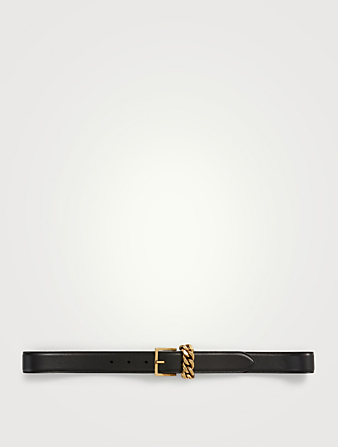 SAINT LAURENT Leather Belt With Chain Loop Women's Black
