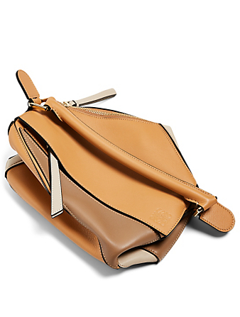 LOEWE Small Puzzle Leather Bag Women's Beige