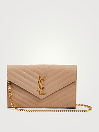SAINT LAURENT YSL Monogram Leather Chain Wallet Bag Collections Beige