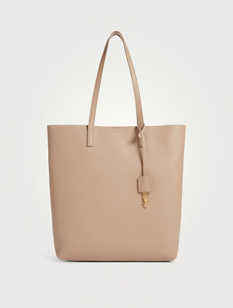 SAINT LAURENT N/S Shopping Leather Tote Bag Women's Beige