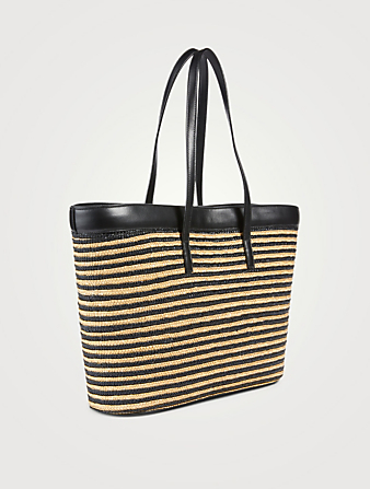 SAINT LAURENT E/W Stripped Raffia Shopping Tote Bag Women's Neutral