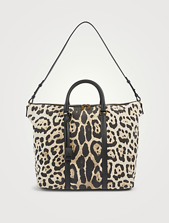 SAINT LAURENT Camden Leather Tote Bag In Leopard Print Women's Multi