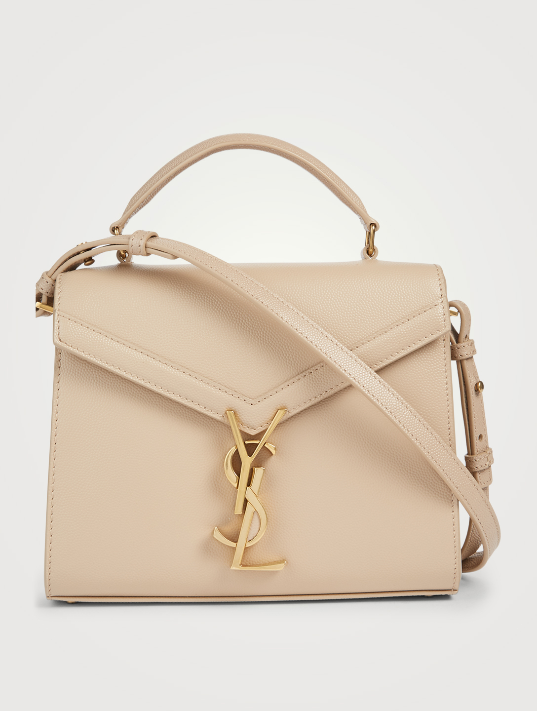 SAINT LAURENT Mini Cassandra YSL Monogram Leather Top Handle Bag Women's Beige