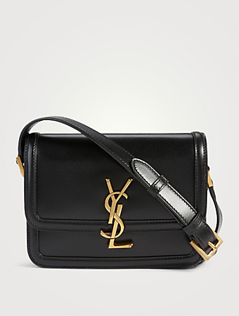 SAINT LAURENT Small Solferino YSL Monogram Leather Crossbody Bag Women's Black