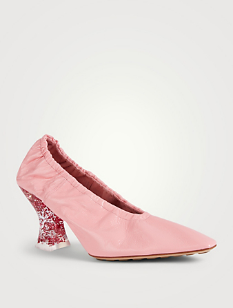 BOTTEGA VENETA Almond Crush Leather Pumps With Plexiglass Glitter Heel Women's Pink