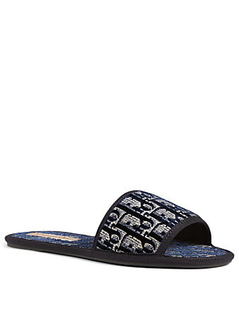 DIOR Dior Chez Moi Oblique Embroidered Velvet Slide Sandals Women's Blue
