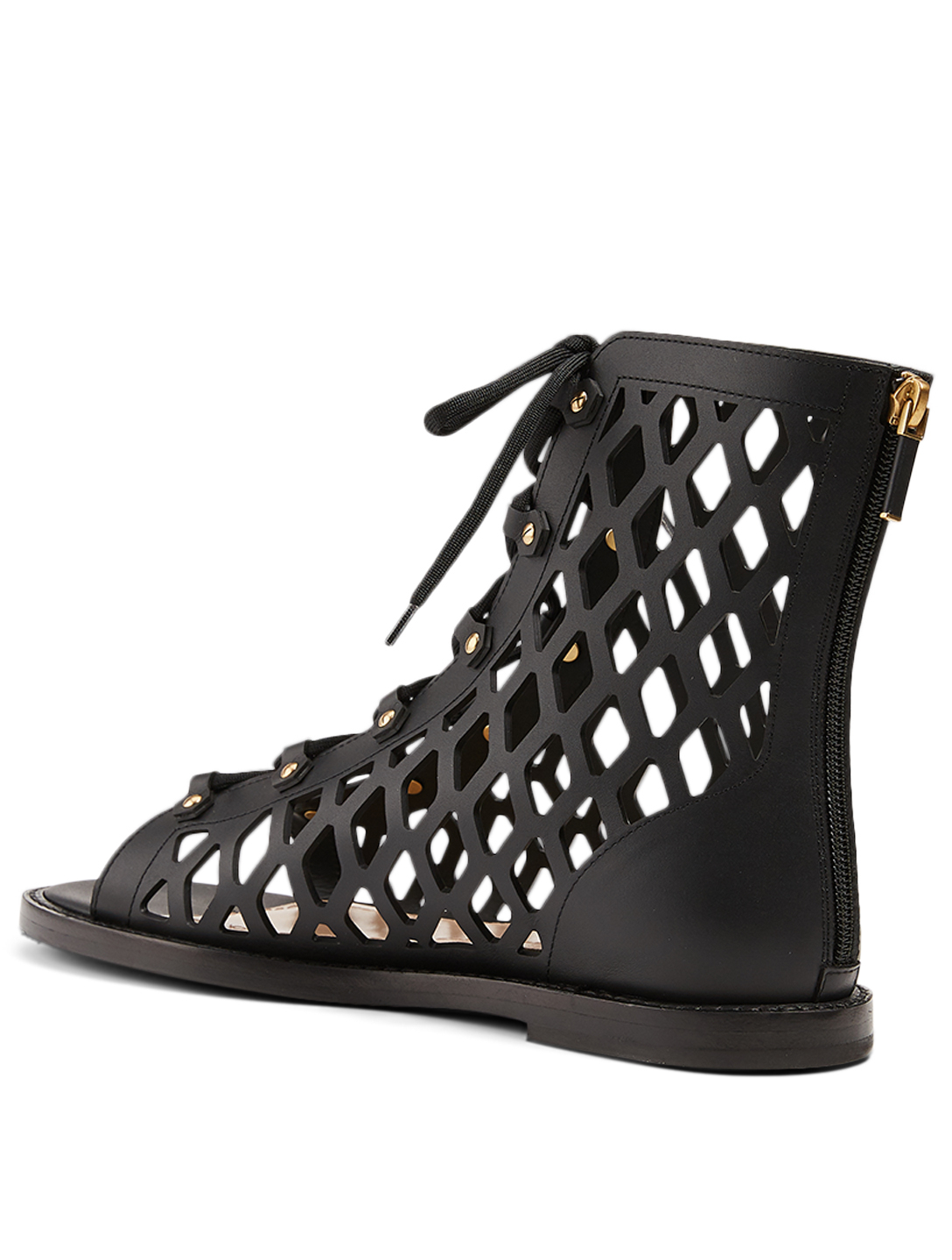 DIOR D-Trap Leather Lace-Up Sandals Women's Black