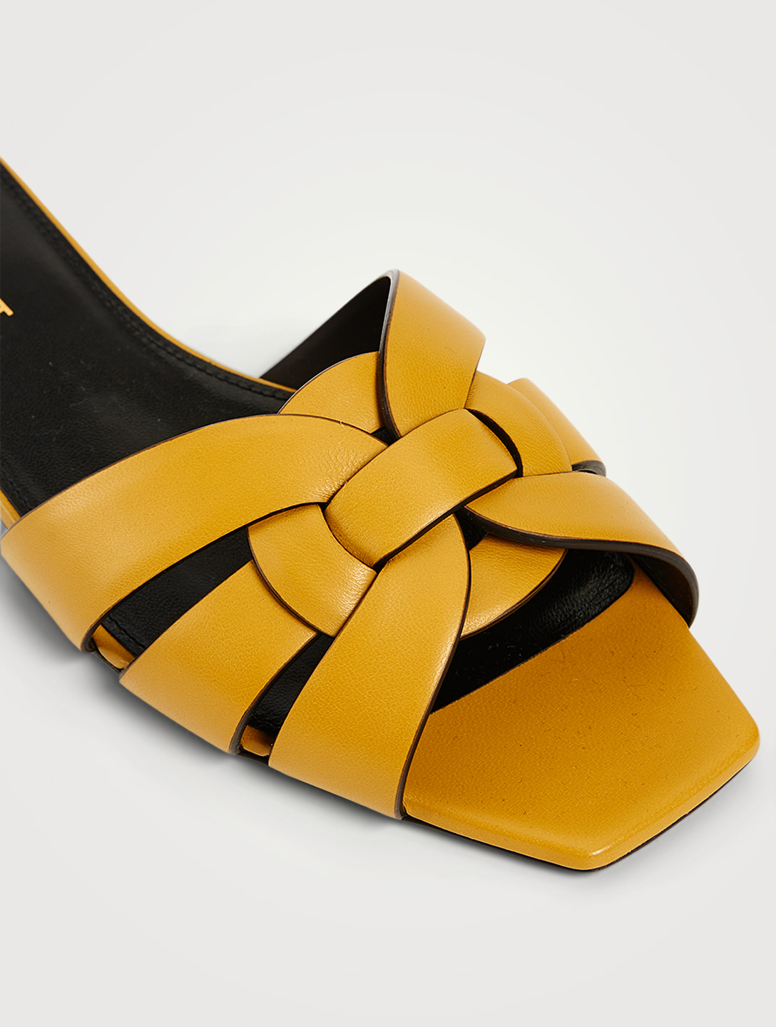 SAINT LAURENT Tribute Leather Slide Sandals Women's Yellow