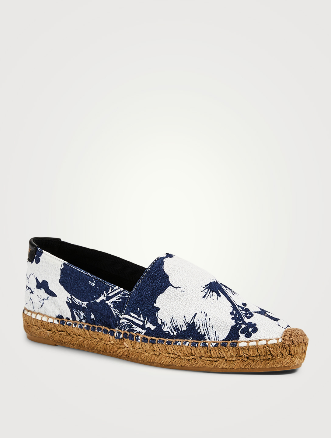 SAINT LAURENT SL Fabric Espadrilles In Hibiscus Print Women's Blue