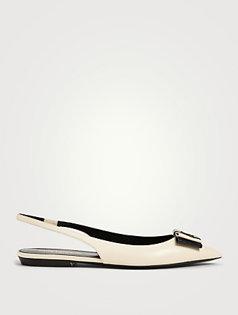 SAINT LAURENT Anais 10 Leather Slingback Flats Women's White
