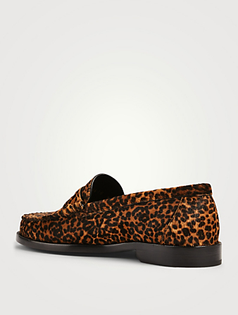 SAINT LAURENT Le Loafer Calf Hair Moccasins In Leopard Print Women's Multi