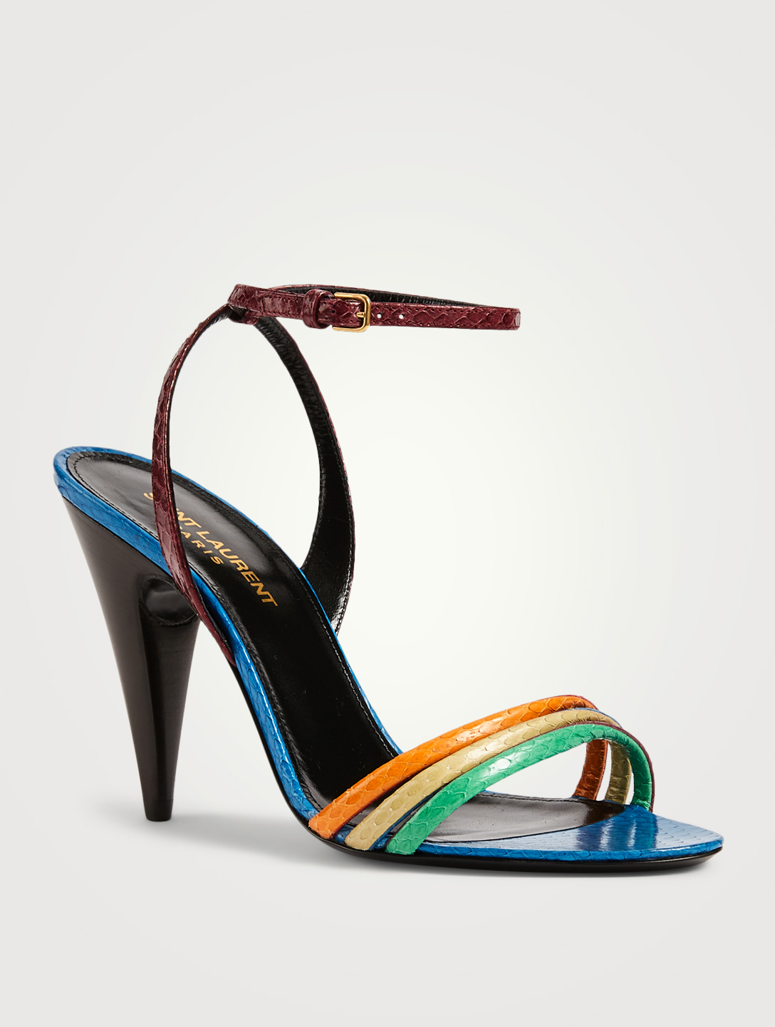 SAINT LAURENT Liya 95 Ayers Leather Heeled Sandals Women's Multi