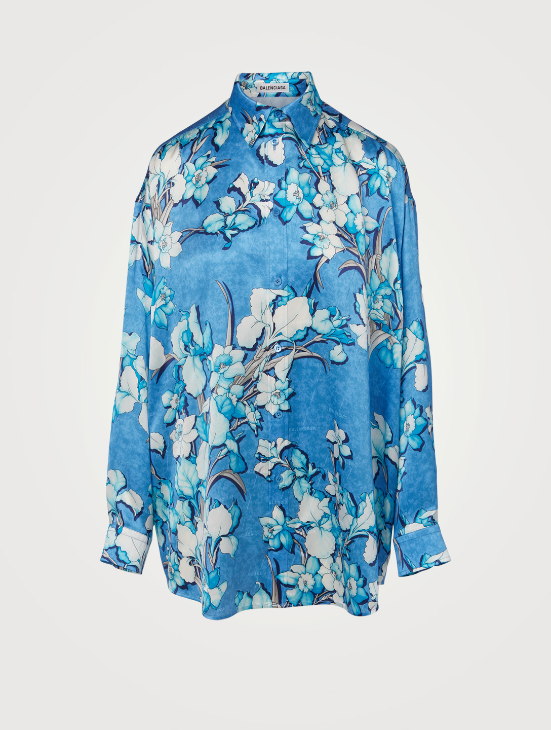 BALENCIAGA Silk Jacquard Blouse In Lily Print Women's Blue