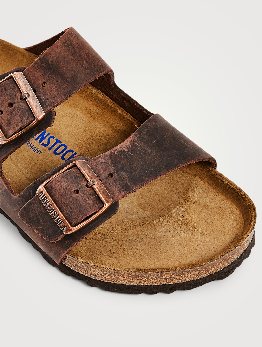 BIRKENSTOCK Arizona Soft Footbed Leather Slide Sandals Men's Brown