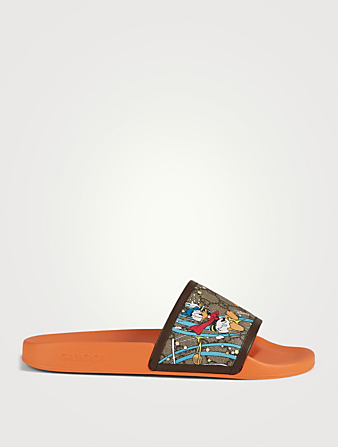 GUCCI DISNEY X GUCCI GG Supreme Canvas Slide Sandals With Donald Duck Print Men's Orange