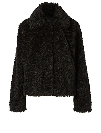 STAND STUDIO Marcella Faux Fur Shaved Jacket Women's Black