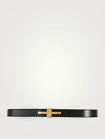TOM FORD Double T Leather Belt Men's Black