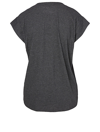 FRAME Cotton V-Neck T-Shirt Women's Grey