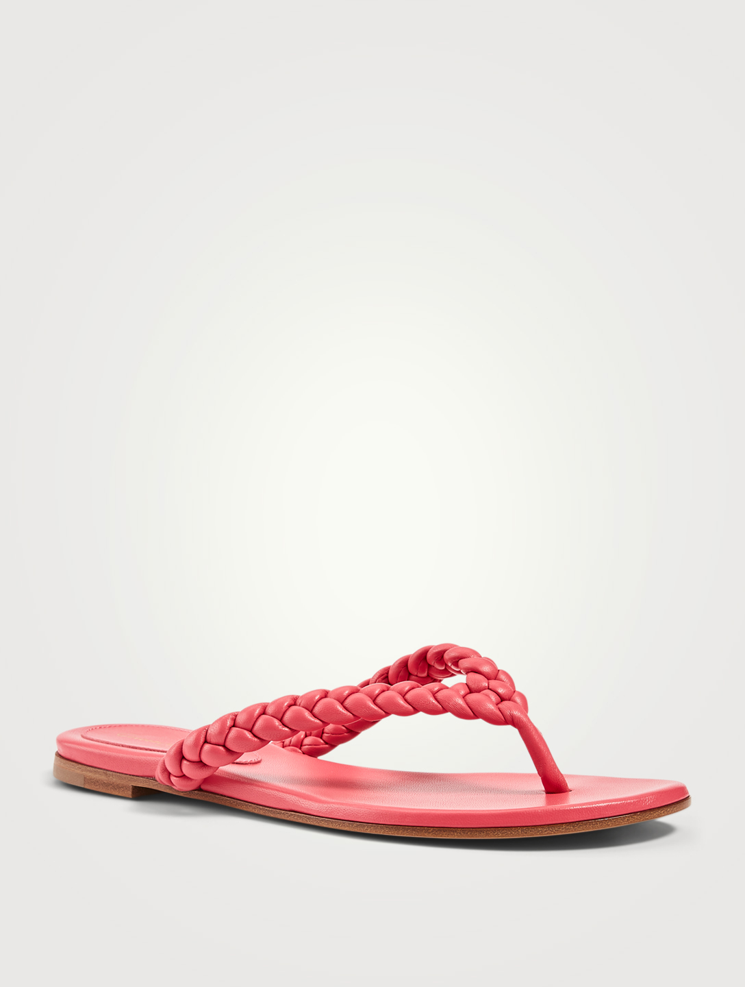 GIANVITO ROSSI Tropea 05 Woven Leather Thong Sandals Women's Pink
