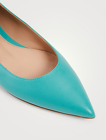 GIANVITO ROSSI Angie Leather Ankle-Tie Ballet Flats Women's Blue