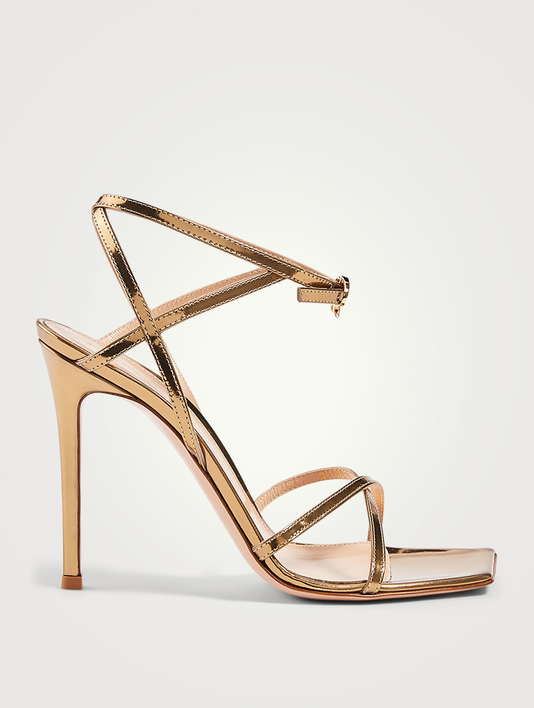 GIANVITO ROSSI Georgina Metallic Leather Heeled Sandals Women's Metallic