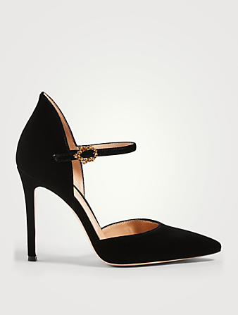 GIANVITO ROSSI Violet Velvet Mary Jane Pumps Women's Black