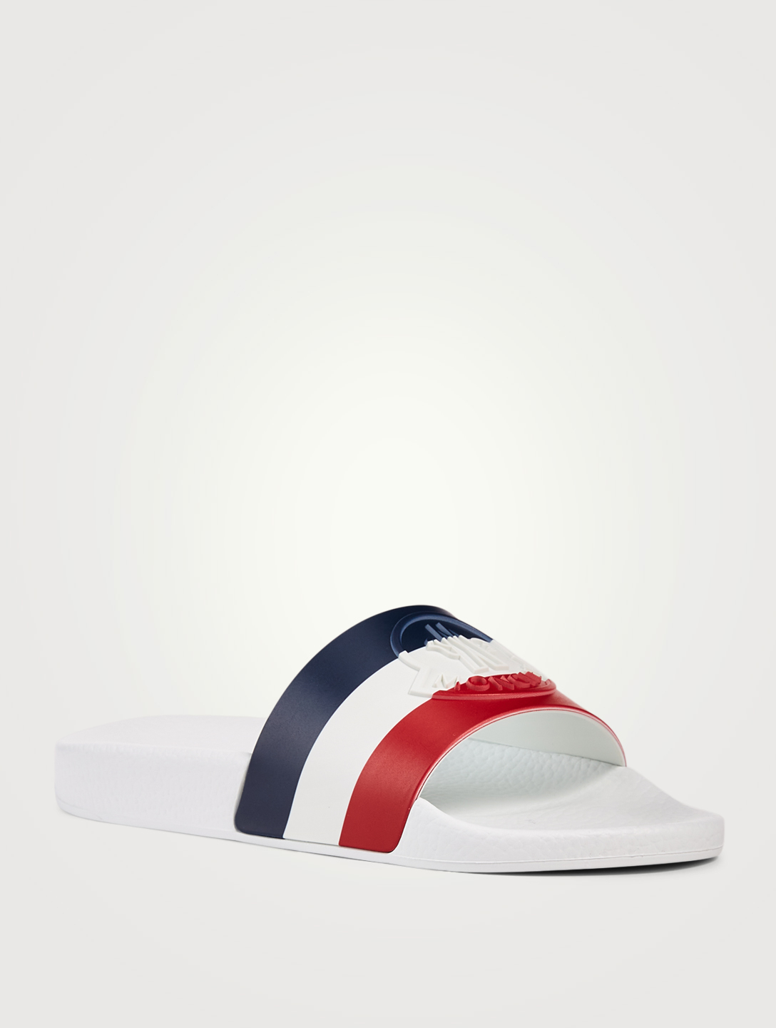 MONCLER Jeanne Rubber Slide Sandals In Tricolour Stripe Print Women's Multi