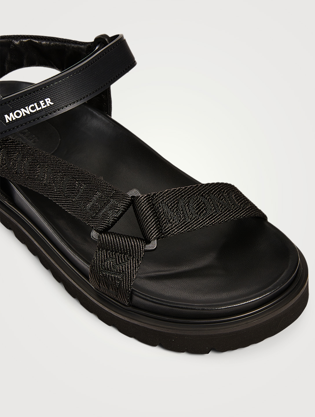 MONCLER Flavia Technical Webbing Sandals With Logo Strap Women's Black