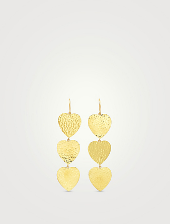 JENNIFER MEYER 18K Gold Triple Hammered Heart Drop Earrings Women's Metallic