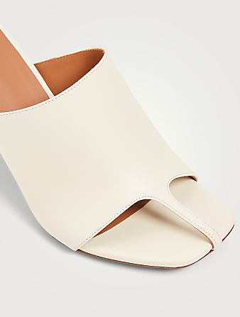 NEOUS Jumel Leather Heeled Mule Sandals Women's White