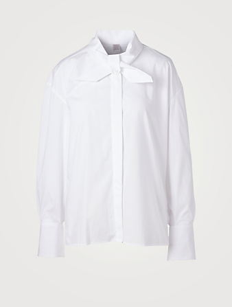 ELEVENTY Cotton Oversized Shirt With Neck Tie Women's White