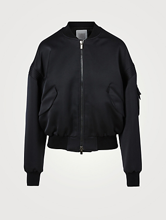 ELEVENTY Satin Oversized Bomber Jacket Women's Black