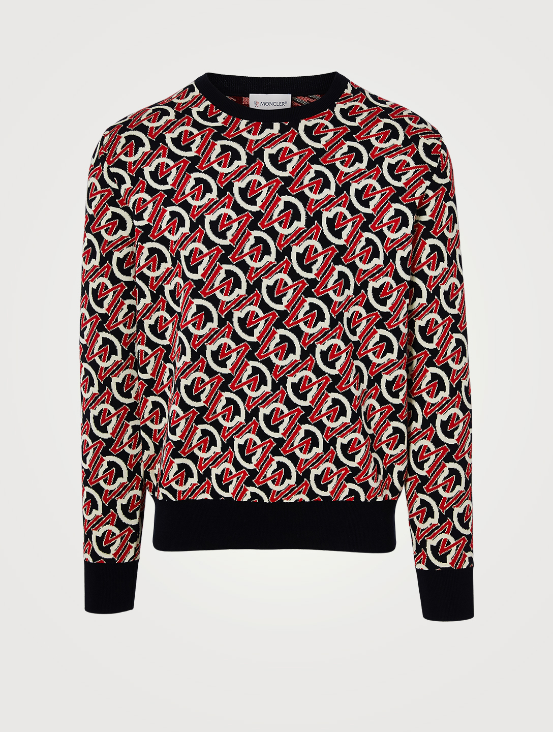 MONCLER Cotton Jacquard Sweater In Logo Print Men's Blue