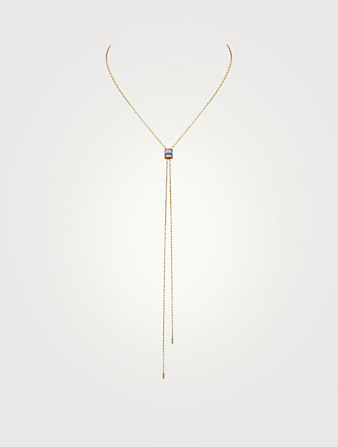 BOUCHERON Mini Quatre Blue Edition Gold Lariat Tie Necklace With Ceramic And Diamonds Women's Metallic