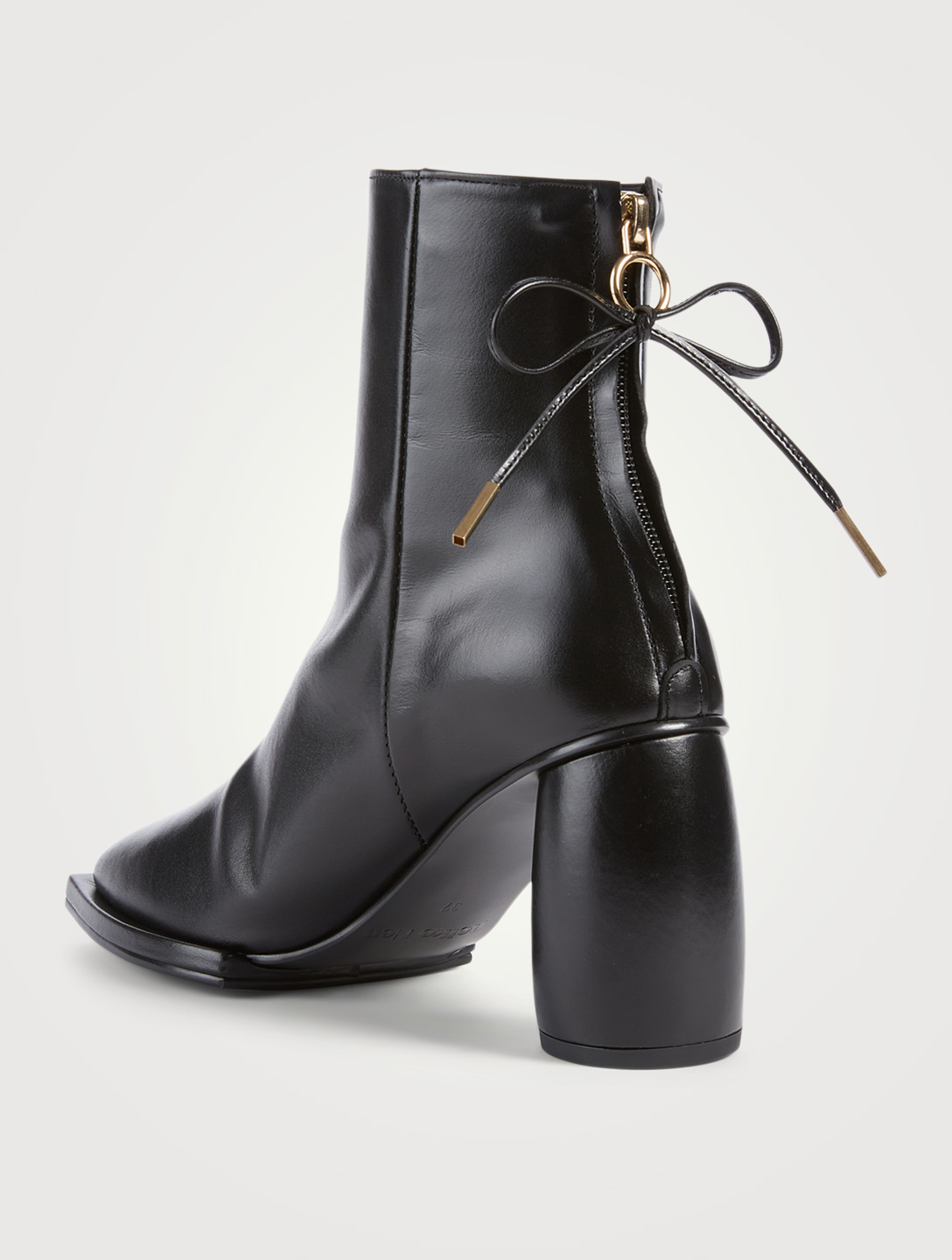 REIKE NEN Square Ribbon Leather Heeled Ankle Boots Women's Black
