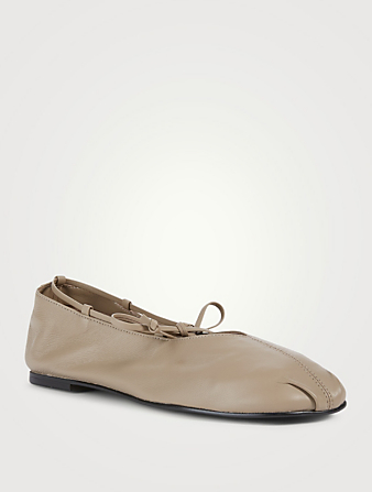REIKE NEN Toe Shirring Leather Ballet Flats Women's Beige
