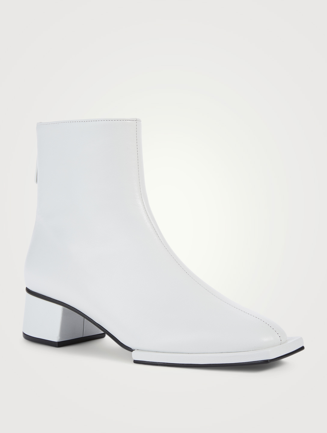 REIKE NEN Classic Zipper Leather Heeled Ankle Boots Women's White