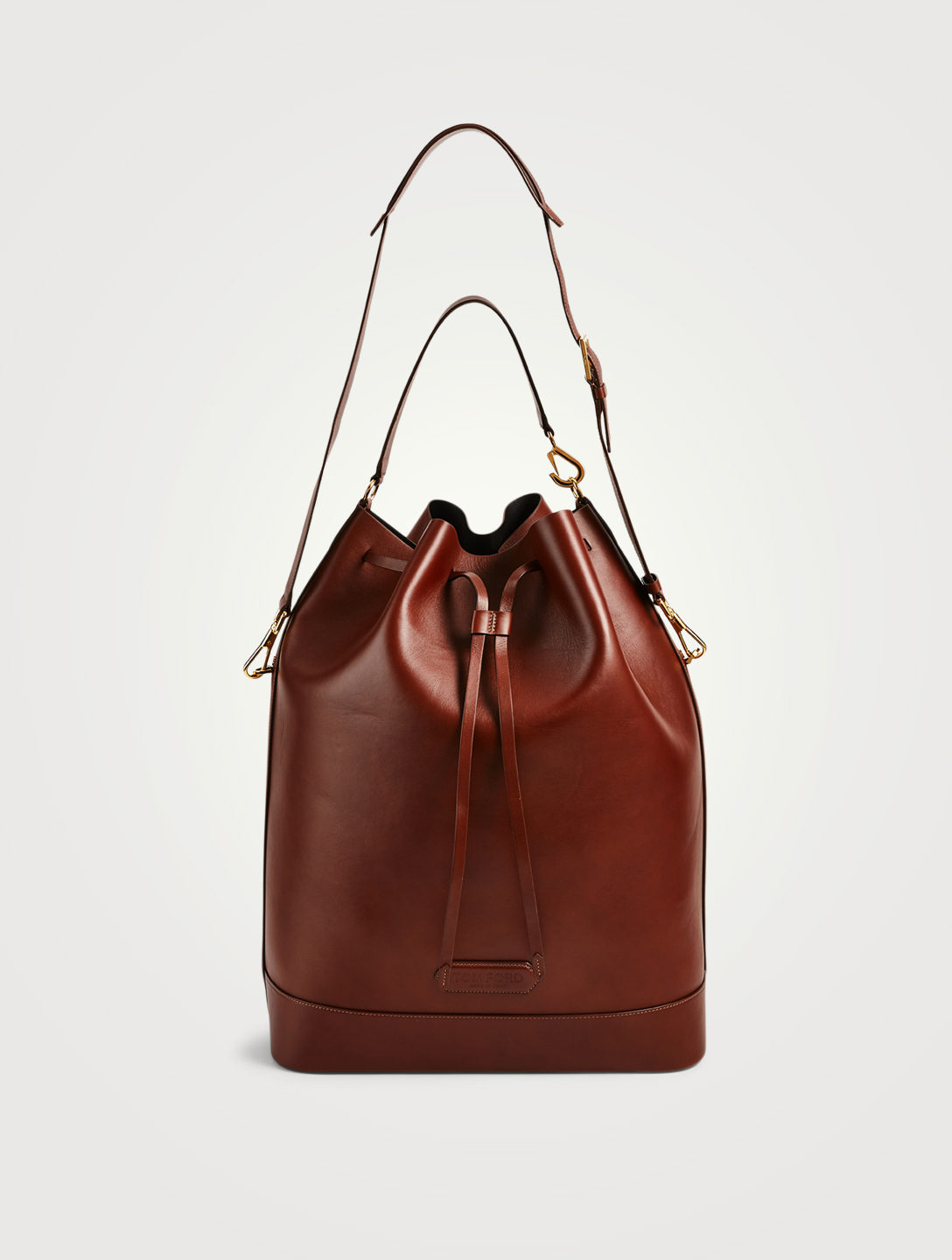 TOM FORD Leather Drawstring Bucket Bag Men's Brown