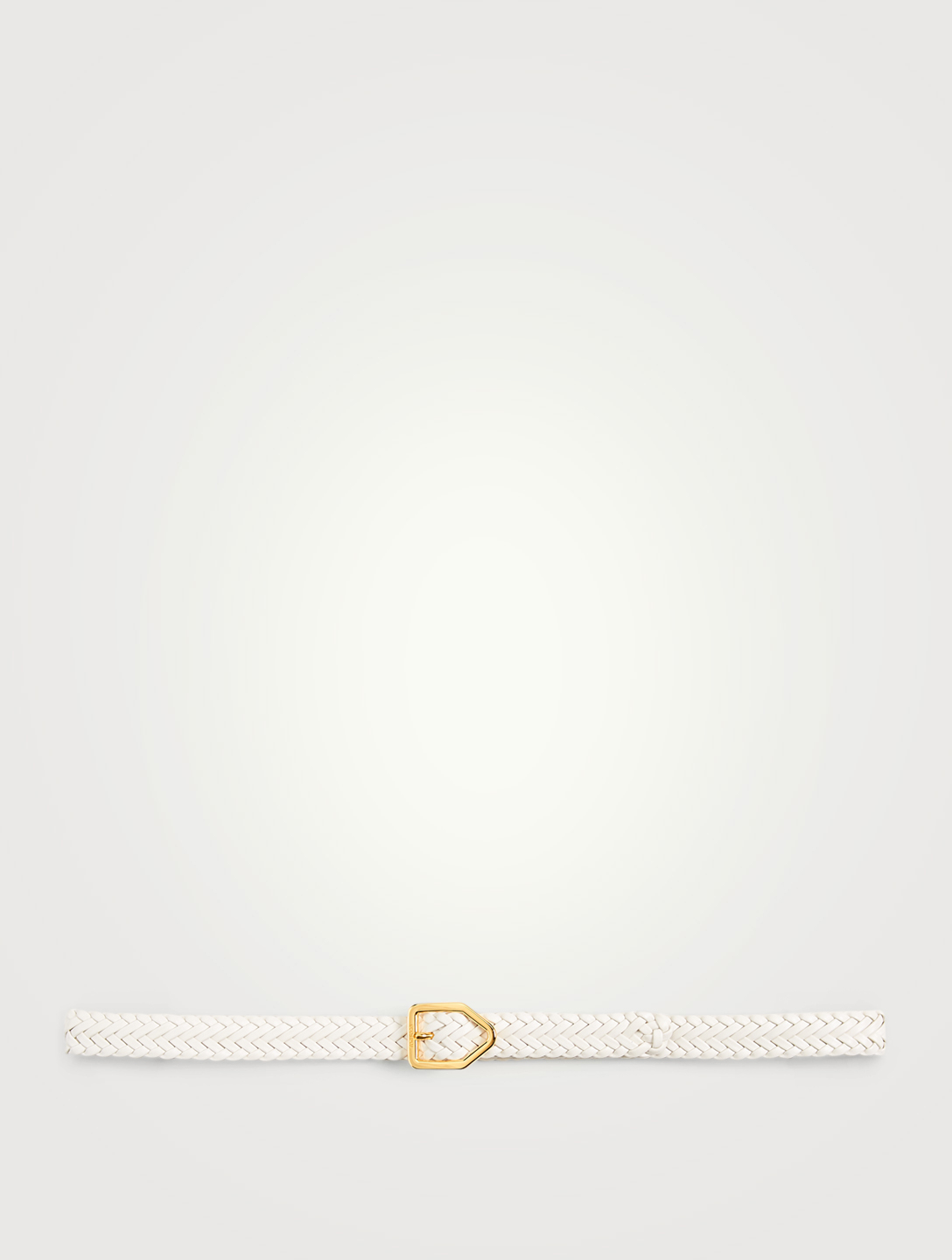 TOM FORD Lozenge Buckle Woven Leather Belt Men's White