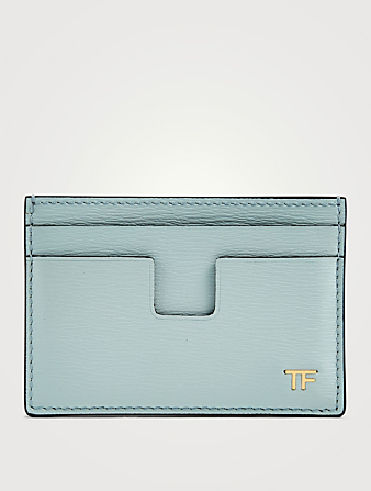 TOM FORD T Line Leather Card Holder Men's Blue