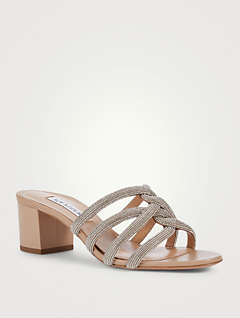 AQUAZZURA Moondust 50 Crystal Leather Heeled Sandals Women's Neutral