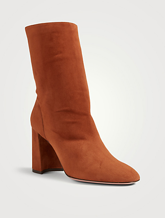 AQUAZZURA So Boogie 85 Suede Heeled Ankle Boots Women's Brown
