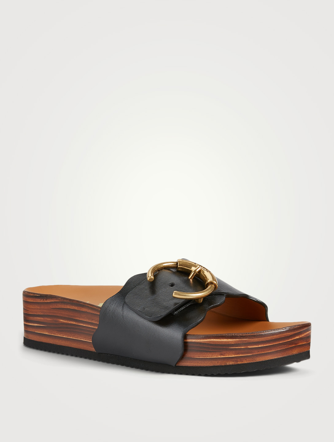 CHLOÉ Lauren Leather Flatform Mule Sandals Women's Black